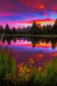 Late spring sunset by the iconic beaver dam at Schwabachers Landing in Jackson Hole, Wyoming (USA) by Jerry Patterson