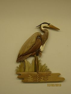 Great Blue Heron V  Intarsia carved cabin decor a by RAKOWOODS, $283.00