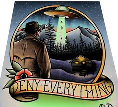 Deny Everything UFO Tattoo Art print by ParlorTattooPrints on Etsy