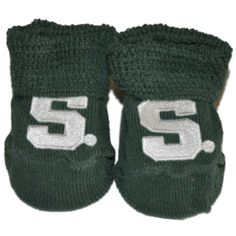 Michigan State Spartans Two Feet Ahead Infant Baby Newborn Green Socks Booties