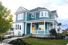 exterior paint colors Door: Butterfield  Main: Riverway  Accent: Escape Gray  Trim: Snowbound     DIY Blogger House Daybreak