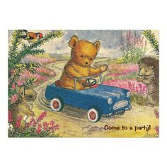 Teddy Bear Drive Birthday Party Invitation