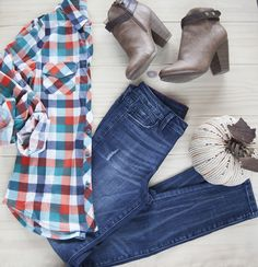Roll Up Sleeve Plaid Top only $16!