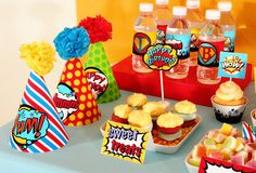 Superhero party hats