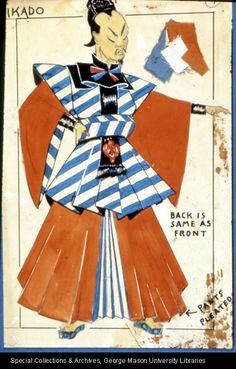Mikado: costume design. George Mason University Special Collections and Archives.