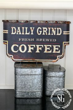 FARMHOUSE KITCHEN -galvanized coffee tins-stonegableblog.com
