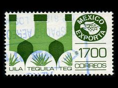 tequila mexican stamp