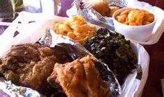 Fried Chicken, Greens, Mac n' Cheese, and Yams