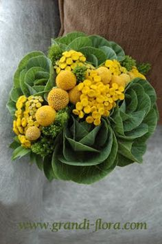 Ornamental Kale flower design with yellow accents. carneros inn wedding