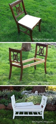 French-Style Bench From Old Chairs