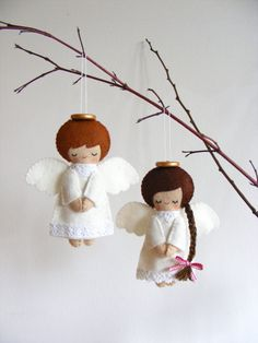 PDF pattern - Felt angels. Christmas tree ornaments, boy and girl angels, easy sewing pattern, angel softies by iManuFatti on Etsy