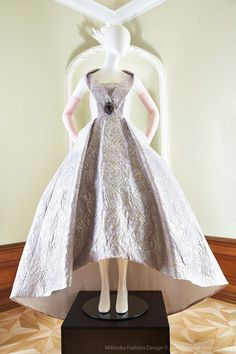 1. MFD Silver, lilac and gold ball gown with pastel pink gloves. www.mikloskofashiondesign.sk