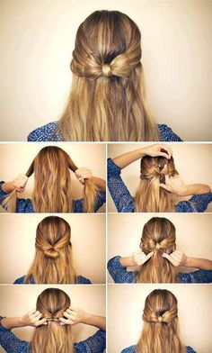 Step by Step to Do a Cute Ribbon Hairdo...  It's super cute!!
