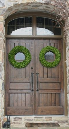 24 Inch Boxwood Wedding Door Wreaths Set of Two by SpottedLeopard, $195.00