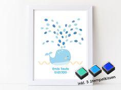 Fotoalbum & Gästebuch - Fingerabdruck Gästebuch für Jungen Walfisch blau  - ein Designerstück von Papierdrachen bei DaWanda