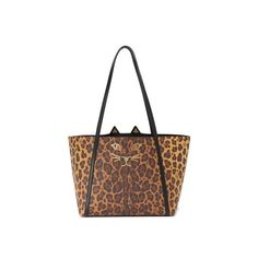 Charlotte Olympia Mini Feline Shopper Tote ($1,020) ❤ liked on Polyvore featuring bags, handbags, tote bags, leopard, faux leather tote, faux leather tote bag, shopping tote bags, handbags totes and mini tote