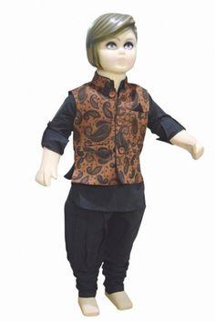 Black Ethnic Kurta Pajama with Printed Jacket in Brown for Infant Boys. #kurtapyjama #infantcloth #partyweardress #boysoutfit #ethenicwear tradionalwear #kidsethenicwear #babyshop #pinkblueindia