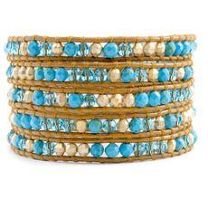 Turquoise Beaded Mix Wrap Bracelet on Henna Leather