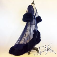Image of Deluxe Midnight Blue Rita Dressing Gown