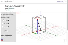 Expression of a vector in 3D Expressing a vector in three dimensions. Australian Curriculum, Math Resources, Mathematics, Teaching, 3d, Math, Education, Onderwijs, Learning