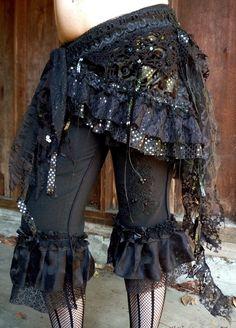 Wrap, Black and Dark Yellow Sparkle, Skirt, Cabaret, Vaudeville, Steampunk, Vampire, Noir, Gothic, Witchy, Black Rock, Dance. $65.00, via Etsy.