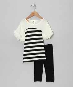 Take a look at this Black & Crème Stripe Ruffle Tunic & Leggings - Toddler & Girls by Mia Belle Baby on #zulily today!
