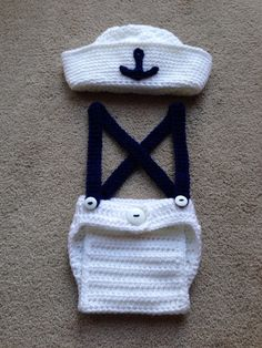 Free shipping cute crochet newborn sailor hat with matching overalls baby sets photography props 100% cotton(China (Mainland))