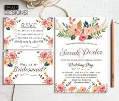 Rustic floral wedding invitation floral wedding by ohlillydesigns