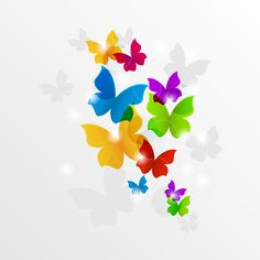 Colorful Flying Butterflies Abstract Background -   Fantasy butterflies abstract in beautiful colors and little glow lights – vector background in AI and EPS as well as PDF and JPG (3000x3000px).                              - https://www.welovesolo.com/colorful-flying-butterflies-abstract-background/