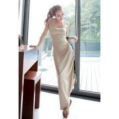 $7.62 Women's Elastic Cotton Maxi Dress With Scoop Neck Adjustable Side Sleeveless Design
