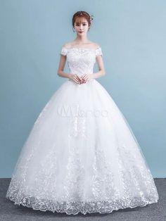 d792ed1a967b8 Princess Ball Gown Wedding Dresses White Off The Shoulder Lace Floor Length  Bridal Dress