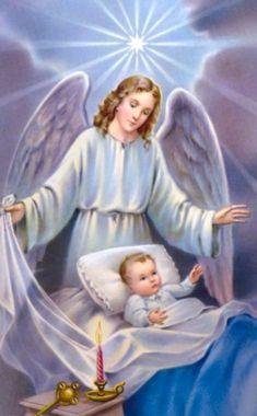 Guardian Angel Pictures, Guardian Angels, Saint Gabriel, Jesus Christus, Catholic Prayers, Cross Paintings, Drawing Skills, Angel Art, Mother Mary