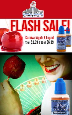 At Mt Baker Vapor,they are offering Flash Sale Carnival Apple E-liquid 15ml $2.99 & 30ml $6.39. Enjoy this flavor and much more only on Mt. Baker Vapor. For more #Mt Baker Vapor  #Coupon #Codes visit: http://www.couponcutcode.com/stores/mount-baker-vapor/