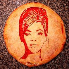 Creative Celebrity Pizza Portraits by Domenico Crolla... again, I LOVE THE INTERNETS!  Beyonce pizza anyone?