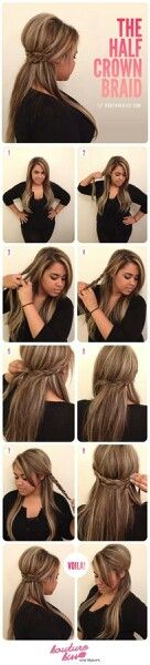 The Half Crown Hairstyle Tutorial Hey, divas! Do you just like the braided crown hairstyles? Do you suppose it's tough so that you can do an ideal braided crown coiffure? Crown Hairstyles, Pretty Hairstyles, Easy Hairstyles, Summer Hairstyles, Style Hairstyle, Wedding Hairstyles, Hairstyles 2016, Medium Hairstyles, Latest Hairstyles