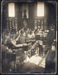 Classroom in the Emerson School for Girls, ca. 1850. (Photo by Albert Sands Southworth)