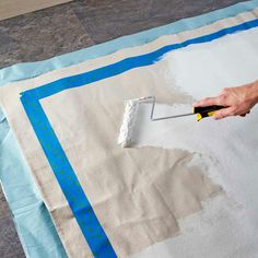 Use for tent rugs!: Painted drop cloth rug from Lowe's Creative Magazine