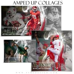 """Athletes will love our new line of sports collage templates. Use this """"Amped Effects - Triple Crown"""" Photoshop template set to design custom collages for almost any sport. See our football and baseball examples for ideas. This set includes templates in the following print sizes: 5x7, 10x20 and 12x12."""