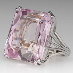 49 Carat Kunzite Cocktail Ring 14K White Gold