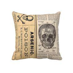 Vintage Medical Skull Poison Anatomy Pillow