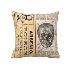 Vintage Medical Skull Poison Anatomy Pillow