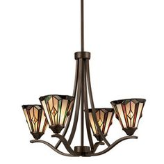 Portfolio 4-Light Aztec Mission Bronze Tiffany Style Chandelier Lowes