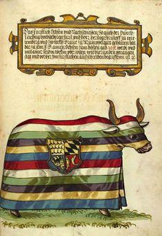 «Beschreibung des Armbrustschießens in Stuttgart 1560», Ulrich Erthel, Augsburg, um 1561 [UB Cod. Pal. germ. 78] -- Seite 68r: Der Gewinnochse.