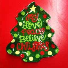 Christmas tree plate hand painted at Pottery Worx
