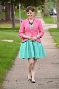 Already Pretty outfit featuring Smythe blazer, mint green dress, studded bib necklace, JustFab metallic flats