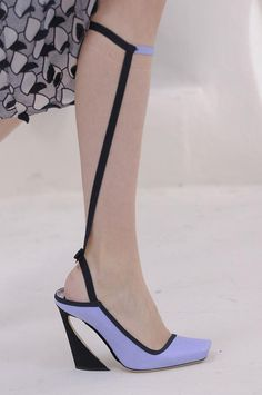 Not sure what the point of the strap is...to hold the shoe on???//Detailed photos of Christian Dior Haute Couture Spring 2014