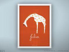 "Baby nursery decor print safari theme wall art custom name new baby gift art print  - Unframed 11 3/4  x 15 3/4"" - Queen Giraffe. $29.00, via Etsy."