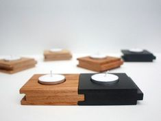 modular tea light holders from James Tattersall - could even make these out of painted hardwood flooring pieces! Candle Holder Decor, Wooden Candle Holders, Candlestick Holders, Scrap Wood Projects, Woodworking Projects, Tea Light Candles, Tea Lights, Bougie Candle, Small Projects Ideas