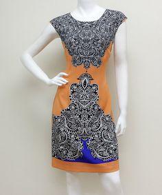 Look what I found on #zulily! Orange & Black Paisley Cap-Sleeve Dress #zulilyfinds