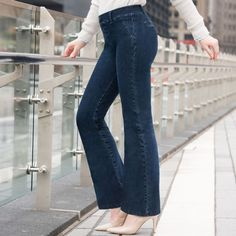 We've designed the most comfortable jeans ever. Based on our world-famous Dress Pant Yoga Pants and featuring fantastically flexible, stretch denim. Red Dress Pants, Dress Yoga Pants, Women's Pants, Pants Outfit, Most Comfortable Jeans, Comfortable Outfits, How To Stretch Boots, Stretch Denim, Indigo Dress